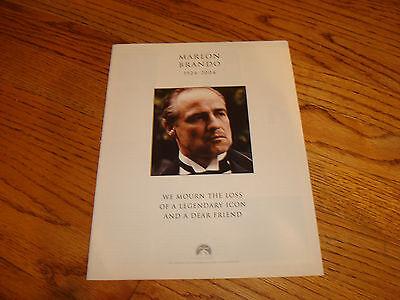 MARLON BRANDO 1924-2004 Paramount tribute ad as Vito Corleone in THE GODFATHER