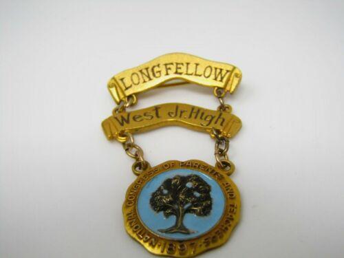 Longfellow West Junior High School Pin Congress of Parents & Teachers 1952