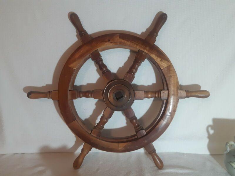 "WOODEN NAUTICAL SHIPS WHEEL BOAT STEERING HELM 24"" MARINE DECOR VINTAGE"
