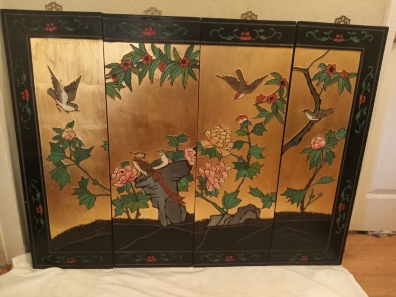 VTG Japanese Chinese 4 Panel Wall Art Hand Crafted decor Painted 49x36 Antique