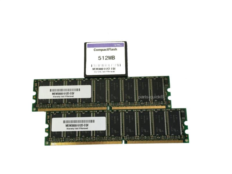 2x MEM3800-512D + MEM3800-512CF Cisco 3825 3845 Memory