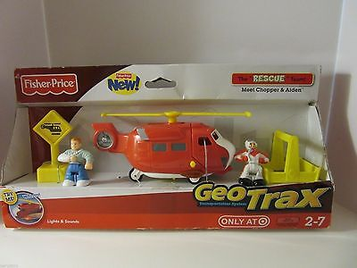 Rare Fisher Price Rescue Team Chopper And Aiden Geotrax Lights And Sounds  New
