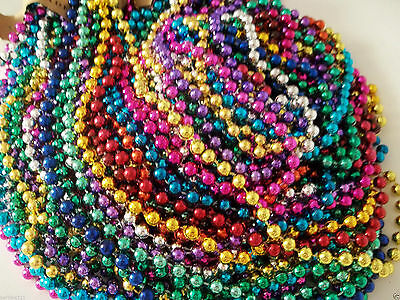 72 Multi-Color Mardi Gras Beads Necklaces Party Favors 6 Dozen Free Shipping - Mardi Gras Party Favors
