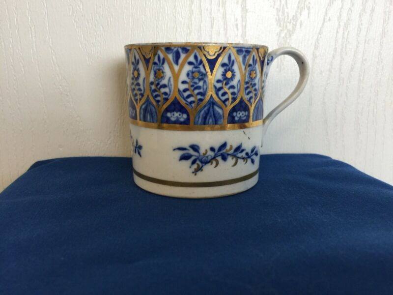ENGLISH ANTIQUE COALPORT (?) COFFEE CAN/CUP C1800 -1810 MAZARINE BLUE AND GILT