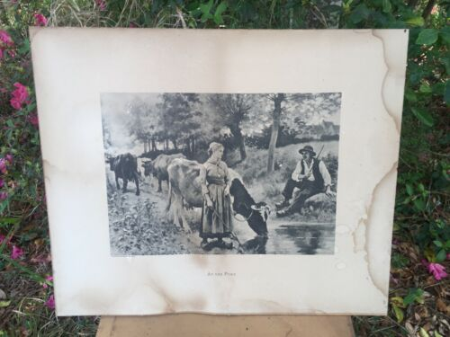 Lg Rare Antique Victorian Print At the Pond Dutch Shoes Man and Woman Cows Sweet