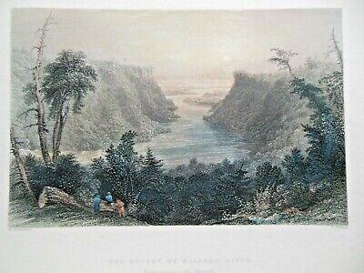 Niagara River Outlet (1837) Antiquarian Engraving Hand Coloured, America/USA