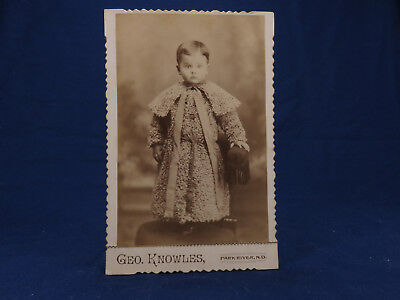 Geo  Knowles Cabinet Photo Park River Nd Young Boy Wooly Coat Big Ribbon Sweet