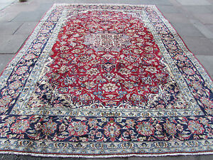 vieux traditionnel fait main persan tapis oriental rouge laine tapis tapis 378x278cm ebay. Black Bedroom Furniture Sets. Home Design Ideas