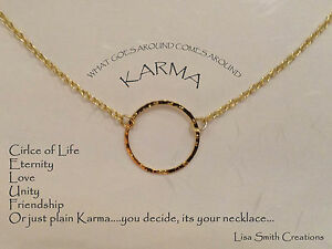 Gold Plated Karma Necklace Circle Of Life Eternity Unity Love Friendship Chain