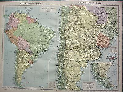 1940 MAP ~ SOUTH AMERICA ~ BRAZIL CHILE PERU COLUMBIA FALKLAND ISLANDS ARGENTINA