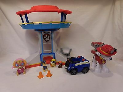 Paw Patrol Lookout Tower Playset Headquarters Command Center Figure Vehicle Lot
