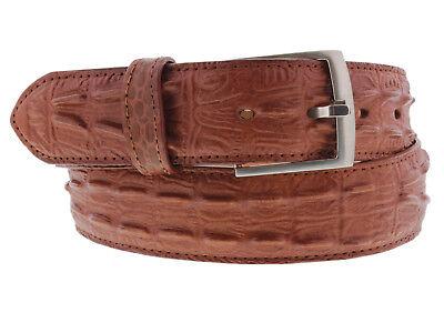 Cognac Western Cowboy Leather Crocodile Alligator Tail Belt Silver Buckle Silver Crocodile Belt