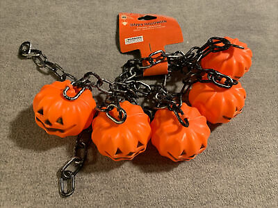 Jack-O-Lantern and chains plastic garland. NWT