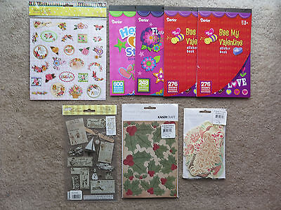 Craft Scrapbook lot Darice Stickers hearts flowers stars Rub ons die cut shapes