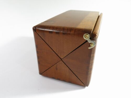 RARE Solid Cherry Side Locking Refinished Antique 1889 Singer Puzzle Box