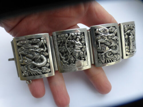 Exquisite rare Victorian Chinese Export Silver Repousse Bracelet 80g quality