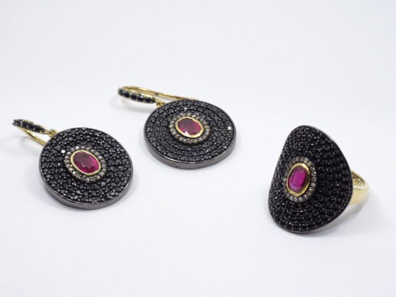 """CAROL BRODIE  """"MLD"""" SPINEL, RUBY & DIAMOND VERMEIL STERLING EARRINGS + RING SET"""