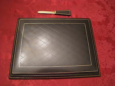 New 2-pc Bontruper Black Genuine Leather 24k Gold Gilded Desk Blotter Set Gift
