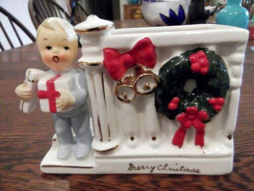 NAPCO JAPAN MERRY CHRISTMAS  BOY CERAMIC VINTAGE  HOLDER PLANTER  VASE