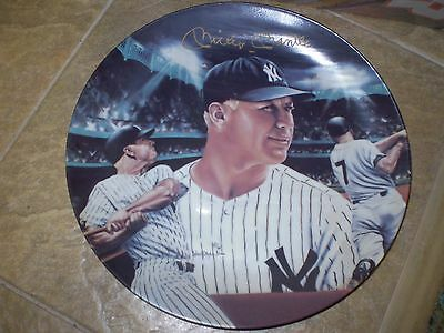 MICKEY MANTLE MICKEY AT NIGHT SPORTS IMPRESSIONS PLATE  AUTOGRAPHED COA