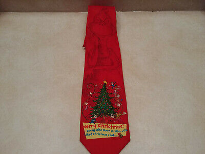 Dr Seuss Grinch Who-ville Christmas Tree Theme Red Men's Tie Polyester NWT