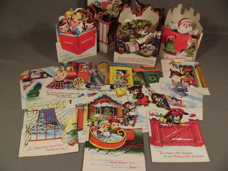 Vintage Standup Christmas Holiday Cards Little Friends Box Set Unused