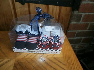 2 Pair of Infant Patriotic Socks by Stepping Stones (0-6 Months) NEW IN BOX