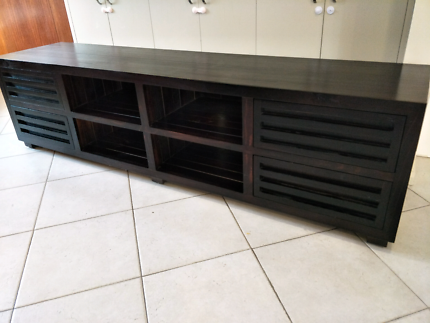 Slimline Long TV unit brown black