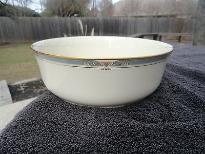Light Blue Gold Rim (Lenox Monterey Light Blue Pink Designs Gold Rim Off White Round Serving Bowl )