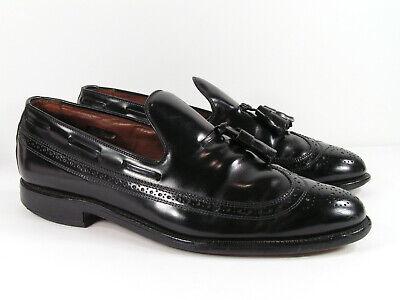 allen edmonds berwick shoes mens 9.5 D M black loafers tassel wingtip leather