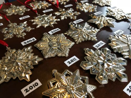 1970-2018 Vintage Gorham Sterling Silver Snowflake Star Retro Christmas Ornament
