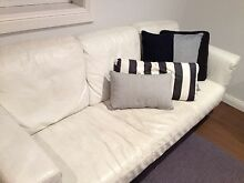 Modern white leather lounge 3 seater urgent pick up Mosman Mosman Area Preview