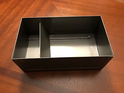 Vintage Metal File Box No Lid For Business Note Cards