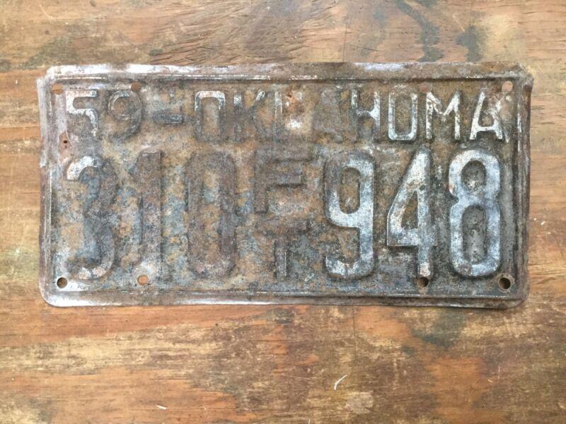 VINTAGE 1959 OKLAHOMA FARM TRUCK LICENSE PLATE