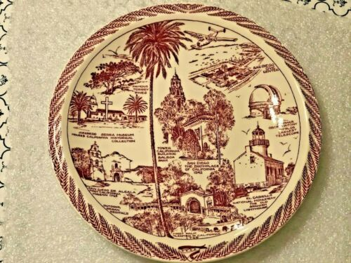 Vernon Kilns California Pottery Souvenir San Diego CA Plate for Whitney & Co. EX