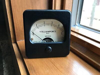 Vintage Weston Panel Meter 0-5 Dc Milliamperes Gauge Steampunk