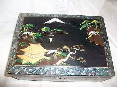 Vintage Wood Handpainted Asian Music Jewelry Box Japan Oriental Black Lacquered