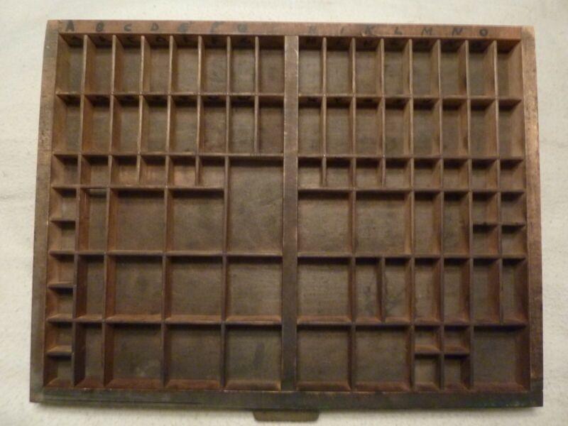 Vintage Wooden Printers Drawer Letterpress Type Set Tray Shadow Box Hamilton