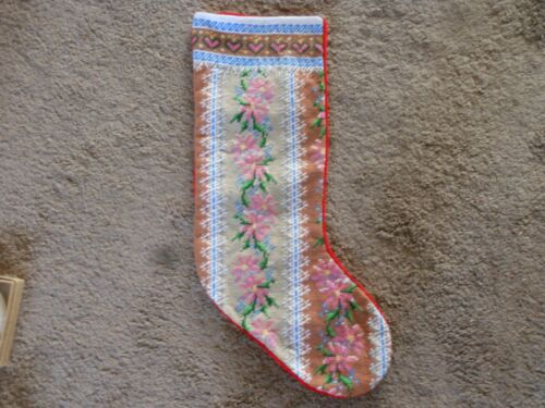 PRETTY EMBROIDERED CHRISTMAS STOCKING WITH VELVET BACK WITH FLOWERS AND HEARTS