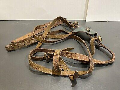 Antique Vintage Leather Raindeer Reins Harness Christmas Bells