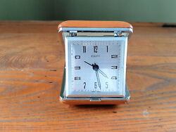 Vintage EQUITY FOLDING TRAVEL ALARM CLOCK Wind Up Brown Case 1970's Tested