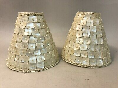 "Set of 2 Beaded Shell 4 3/4"" Deep Lamp Shades White Seashells Beach Ocean Decor"