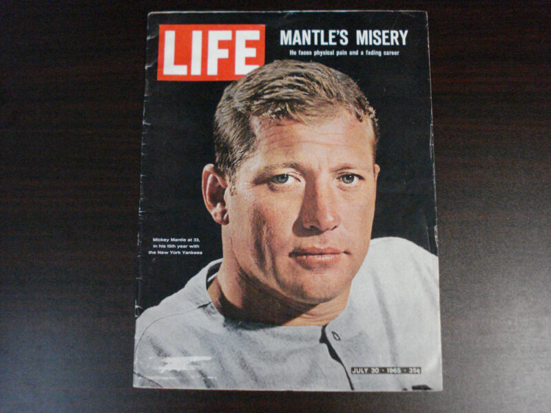 July 30, 1965 Life Magazine Mickey Mantle's Misery New York Yankees Mantle Cover
