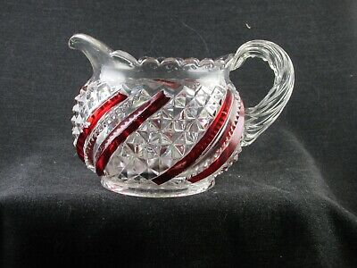 RUBY STAINED DIAMOND SWIRL US GLASS 15042 CREAMER 1895 EAPG 3.5 IN