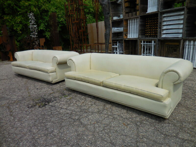 2 Classic Chesterfield Rolled Arm Sofas Mid Century Modern Wormley/Henredon Era