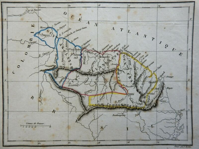 Guyana French Guyana Suriname South America 1840 A.M. Perrot engraved map