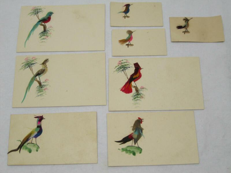 Mexico Folk Art Bird Feather & Hand Painted Card Old Vintage
