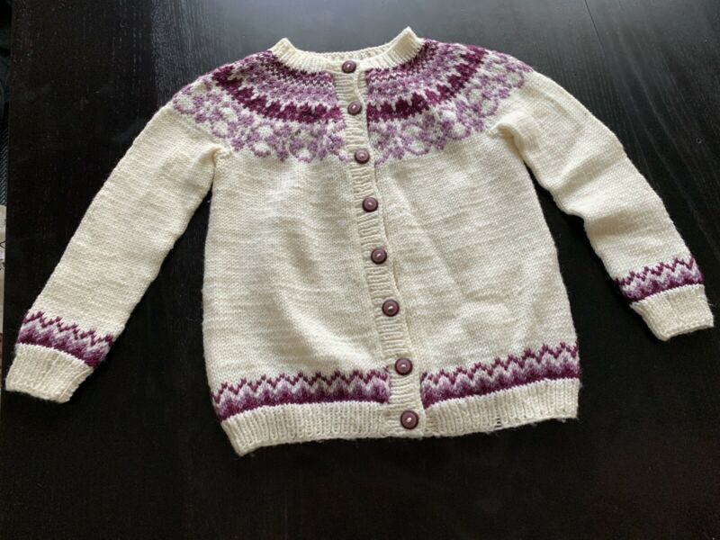 Handmade Norwegian Sweater 100% Wool Purple Ivory Buttons Child Size