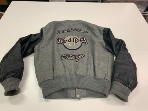 Vintage Hard Rock Chicago Gray Letterman's Style Jacket - XL