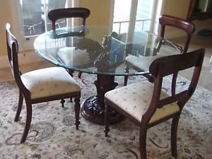 Classic Ornate Timber and Glass Dining Table and Chairs Paddington Brisbane North West Preview